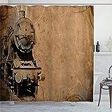 EricauBird Duschvorhang Dampflokomotive, antikes Eisenbahn, antikes Sepia-Design, industrieller Druck, Duschvorhang mit Ringen, Polyestergewebe, Duschvorhänge mit Haken, 183 x 183 cm