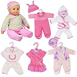 """WHAT'S INCLUDED? - Set of 6 outfits for dolls 12-16"""" GREAT FOR PRETEND PLAY - There is no doubt that playing with dolls can be an incredibly positive and valuable part of childhood SIX DIFFERENT OUTFITS - This set comes with 6 different colorful doll..."""
