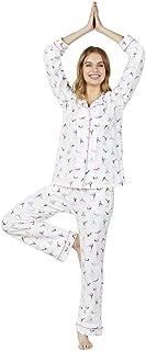 BedHead Women's Long Sleeve Classic Notch Collar Pajama Set Namaste Large