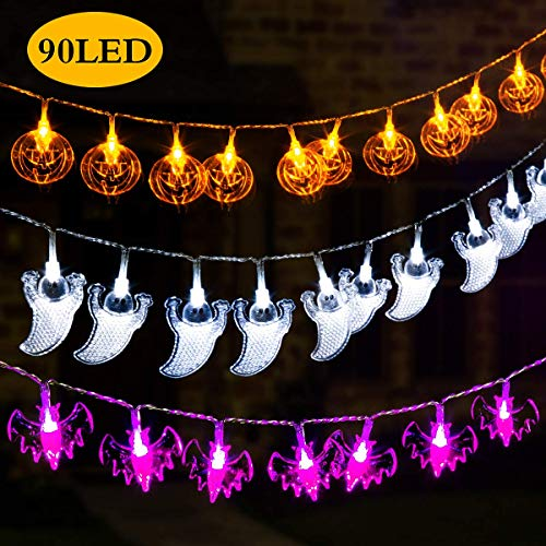 Gigalumi 3 set Halloween string Lights 2 m a batteria zucca pipistrello fantasma Halloween luci decorazione di Halloween, Natale, party 3 Set