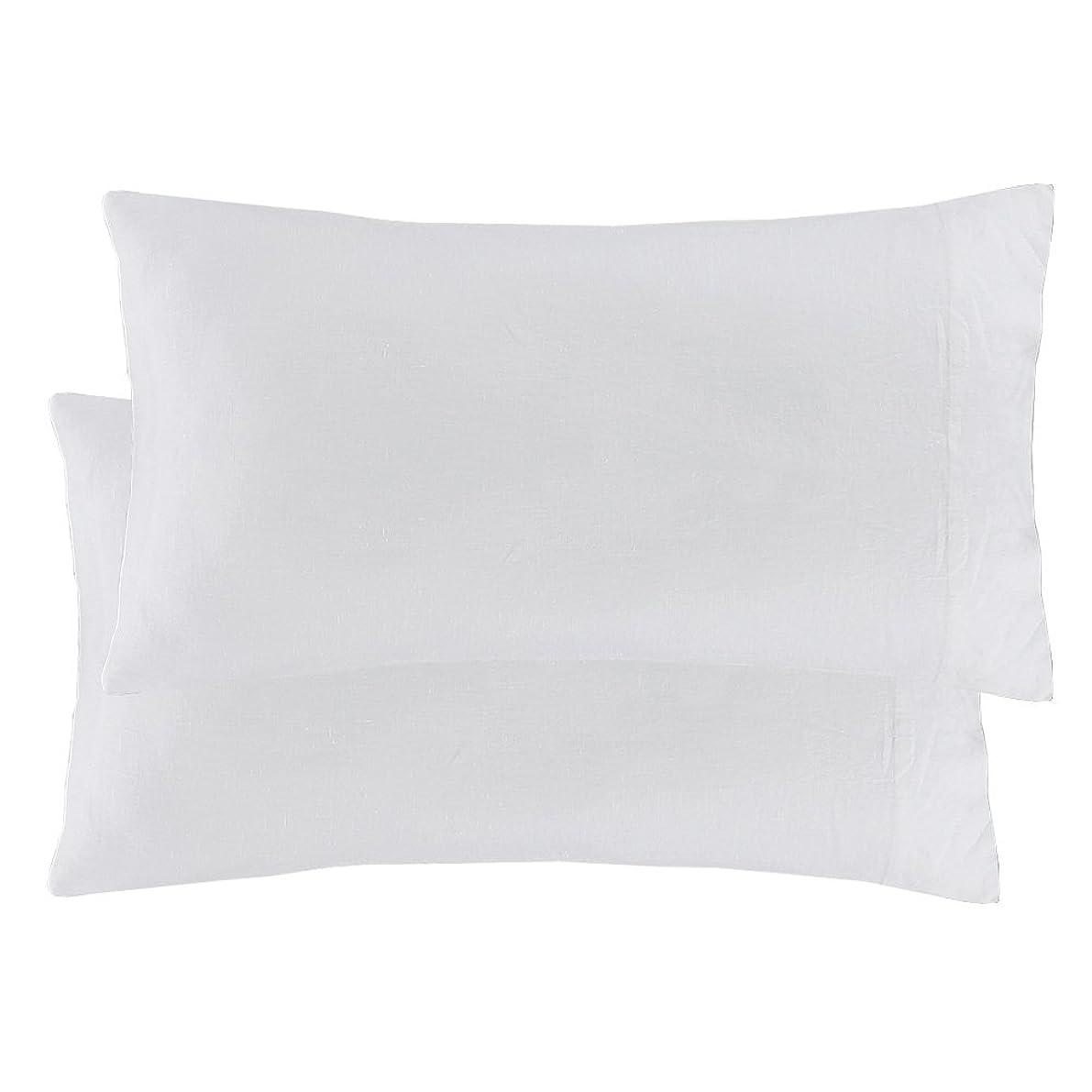 Echelon Home Washed Belgian Linen Cases, Standard, Eggshell White