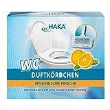 HAKA WC Duftkörbchen Orange I 4 x 50g Duftsteine + 2 Körbchen I Reiniger gegen Kalk, Urinstein &...