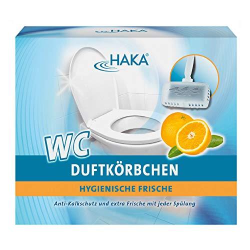 HAKA WC Duftkörbchen Orange I 4 x 50g Duftsteine + 2 Körbchen I Reiniger gegen Kalk, Urinstein & Schmutz I Natürlicher WC Reiniger I Mit Anti-Kalk Schutz