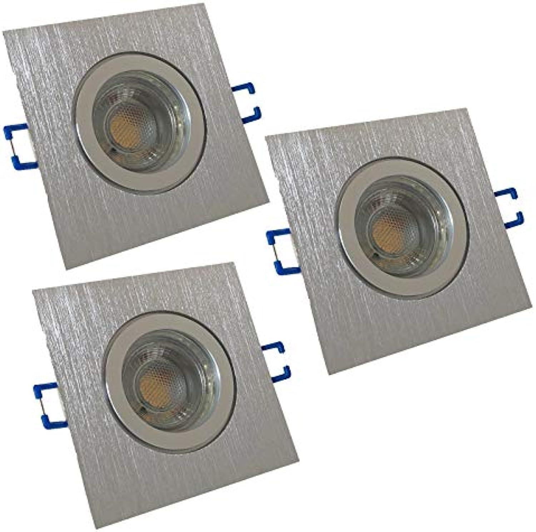 3 Stück IP44 MCOB LED Bad Einbauring Aqua 230 Volt 7 Watt Eckig Farbe BiFarbe Lichtfarbe Neutralwei