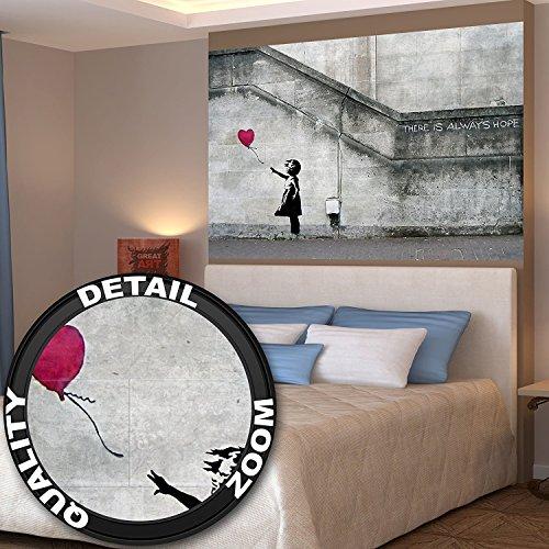 Great Art Poster Banksy kunst meisje met luchtballon muurdecoratie decoratie Altijd is er hoop Banksy meisjes met ballon Banksi kunst stad sjabloon | Foto poster, wandafbeelding, afbeelding deco muur by (140 x 100 cm)