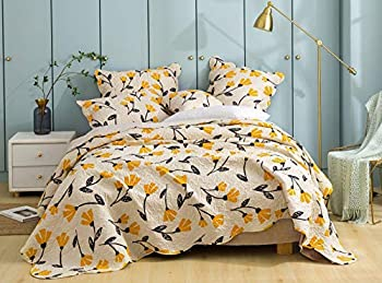 DaDa Bedding Fresh Botanical Bedspread Quilt - Yellow Fleur Floral Tulips Quilted Coverlet Set - Scalloped Edges Bright Vibrant Ivory Cream - Full Size - 3-Pieces