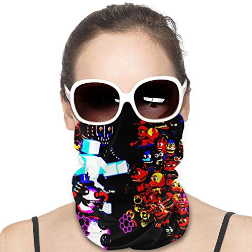 Summer Unisex Dust-Proof Cartoon Head Scarf, Multifunctional Seamless Headwear - Drawing A Fnaf Cool Colorful Background Easy To Clean Bib Riding Face Scarf for Womans Juvenile