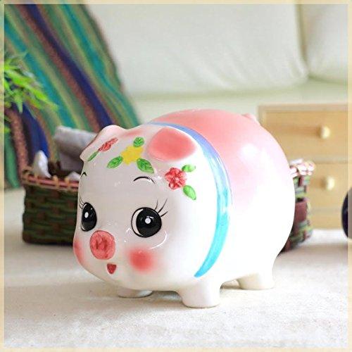 ぱっちりお目めの豚の貯金箱 大サイズ ブタ ぶた バンク 座ってる 貯金豚 雑貨 栓付き 国産 瀬戸焼