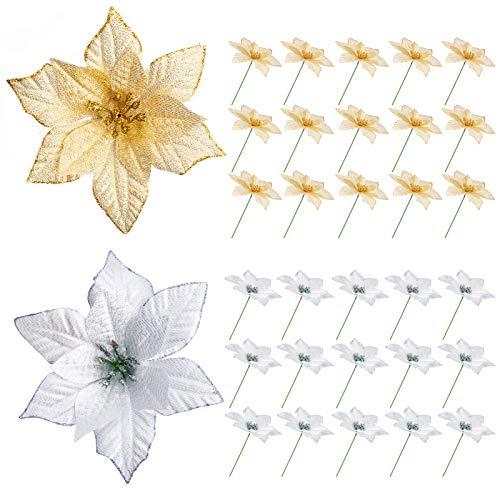 Flores De Navidad Para Decorar Doradas flores de navidad para decorar  Marca Kiiwah