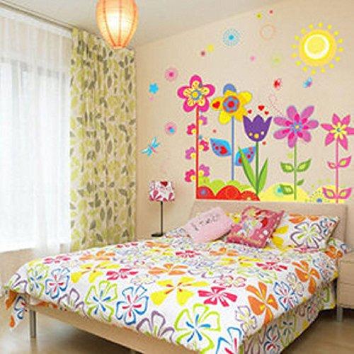 ウォールステッカー こども部屋 カラフル 花と蝶 太陽 フラワー 子供