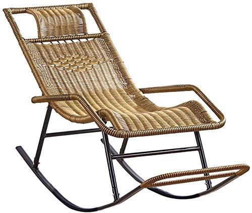 Lätt gungande rottingstol, Sun Lounge stol Fåtölj för trädgård Uteplats Gräsmatta Däck Beach Relax liggande lounge stol med fotstöd Solsäng vilstol Max. 150 kg i gul