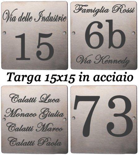 Mosaici Guizzo Targhetta in Acciaio inciso_15x15 cm