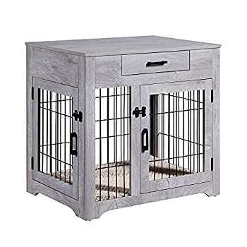 unipaws Furniture Style Dog Crate End Table with Drawer Pet Kennels with Double Doors and Cushion Dog House Indoor Use Chew-Proof Weathered Grey