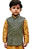 JBN Creation Boys Silk Cotton Modi Nehru Jacket (Black_VASBJBL005_13-14 Years)