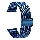 TStrap Orologi Cinturini Maglia Milanese - Cinturini di Ricambio a Sgancio Rapido per Uomo Donna - Cinturino Smartwatch in Acciaio Inossidabile in Metallo Blu - 16mm 18mm 20mm 22mm
