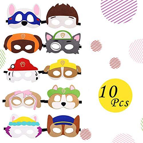 Eholder Tier Masken Kinder, 10 Masken Kindergeburtstag, Tiermasken für Kinder Erwachsen, Kindermasken Hund Geburtstag, HalloweenMaskenKinder Gesicht Kindermaske Filzmasken (10 Stück)
