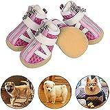 PETLOFT Zapatos para Perros, Reflectante Antideslizante 4pcs Botas para Perro con Correa de Cierre Adjustable para Perros Pequeño Mediano Fácil de Poner Perro Protector Pata Uso Diario (XS, Rosado)