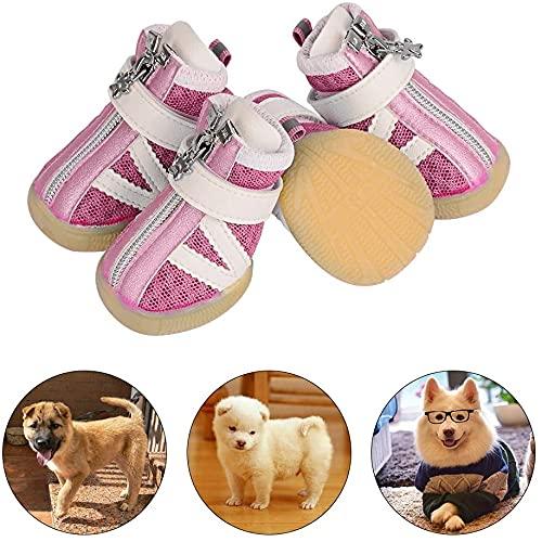 PETLOFT Hund Schuhe, Reflektierend rutschfest Dog Shoes 4pcs Welpenstiefel mit Einstellbar Verschlussriemen für Kleine Mittel Hunde, Pfoten Schützen Einfach anzuziehen Täglicher Gebrauch (XS, Rosa)