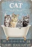 Letreros de metal de estaño vintage con diseño de gatos, jabón de baño para lavar tus patas, baño, hogar, decoración de pared, 20 x 30 cm