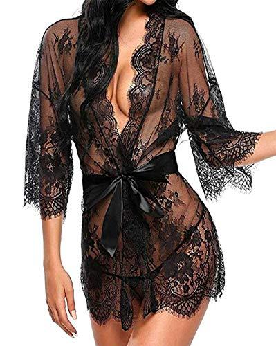 UMIPUBO Mujer Ropa de Dormir Conjunto Sexy Lingerie Transparente Lace Lenceria Erotica Babydoll Ropa Interior (Negro, S) (Ropa)