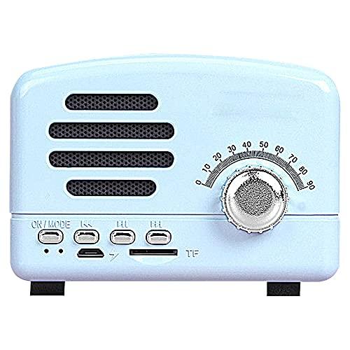 GGZZLL Altavoz Retro Bluetooth, Altavoz Bluetooth Portátil, Transmisión Rápida, Diseño Retro, Vida Útil La Batería, Consumo Bajo Consumo, Adecuado para El Hogar/Dormitorio (Azul)