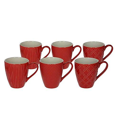 6er Set Kaffeebecher / Kaffeetasse / Becher / MUG aus Keramik, 430 ml., in rot, mit unterschiedlichen Strukturen in der Oberfläche von TOGNANA,