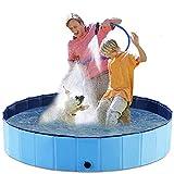 O'woda Piscina para Perros, Mascotas, Plegable Bañera de Perros, PVC Antideslizante y Resistente, con Cepillo de Baño para Mascotas (S/160 * 160 * 30 cm)
