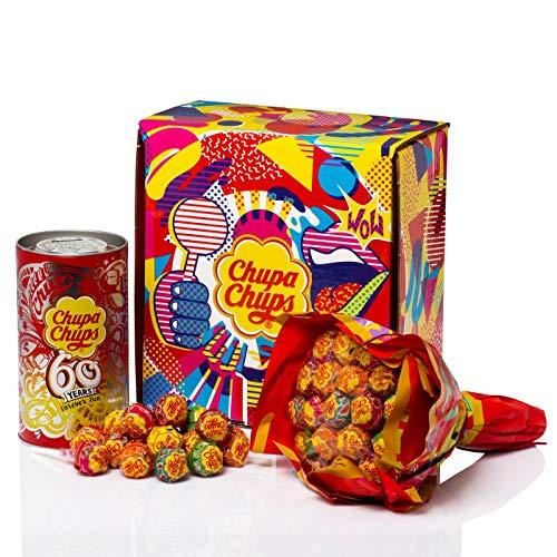 Chupa Chups Blumenstrauss + Spardose, Flower-Bouquet mit 19 Lutschern & Metallbox mit 16 Lollis, 6 fruchtige Geschmacksrichtungen