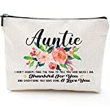 Auntie Mothers Day Gifts Aunt Gifts from Niece Nephew Gifts for Aunts Birthday, Christmas, Appreciation Makeup Bag-Auntie, Thankful for You