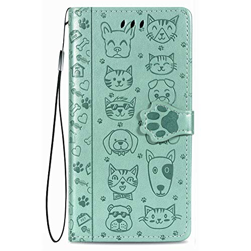 Fertuo Hülle für iPhone 12 Mini, Handyhülle Leder Flip Hülle Tasche mit Kartenfach, Magnet & Standfunktion [Katze H& Muster] Schutzhülle Wallet Cover für Apple iPhone 12 Mini, Grün