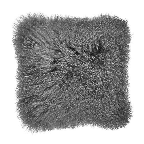 Butlers Tashi Kissen aus Lammfell in Hellrosa 40x40 cm - Sofakissen - Kuschelkissen - Dekokissen aus Fell