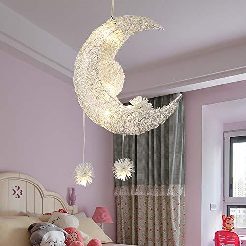 YGB Creative Moon And Stars Fairy LED Lampada a Sospensione Lampadario a soffitto Plafoniera per Bambini Decorazione Camera da Letto (White Light)