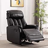 Artechworks Air Leather Manual Recliner Chair - Breathable Bonded Leather Home Theather Seating - Single Reclining Sofa for Bedroom & Living Room, Black