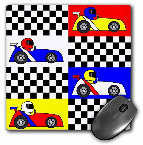 3dRose LLC 8 X 8 X 0.25 Inches Boy Stuff Blue Red Yellow Racecars Checkered Flag Design Mouse Pad (mp_25340_1)