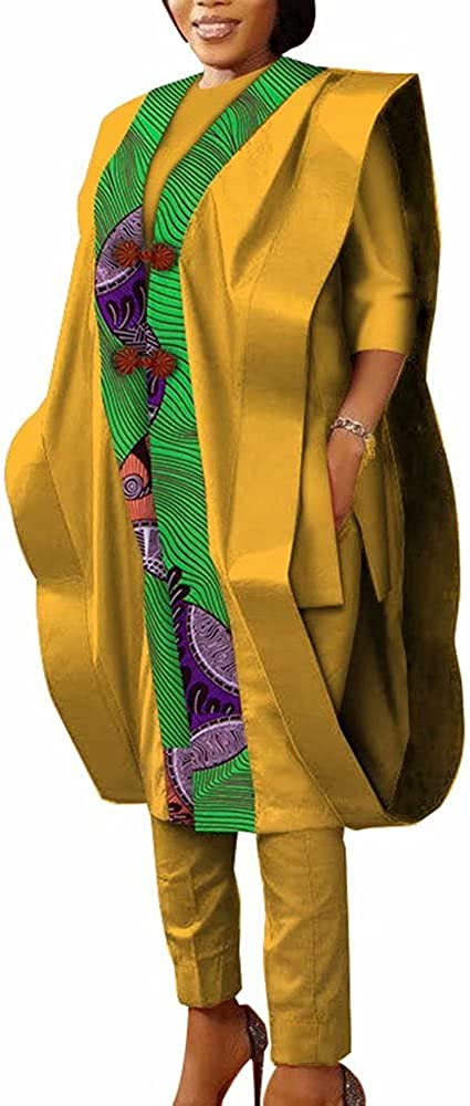 iooiooi Women African Clothes Top Shirt,Robe and Pants Sets Bazin Riche 3 Pieces Pants Sets