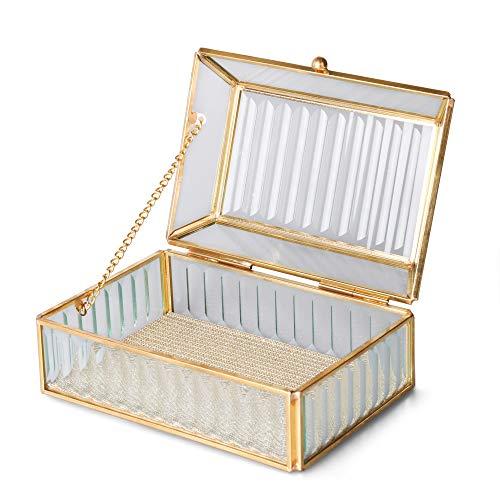 TERESA'S COLLECTIONS Schmuckkasten Glas Gold Schmuckschatulle Damen16 x 10 x 7.5cm Geometrisch Terrarium Box Rechteckig Sukkulente Pflanzer Schmuck Display Aufbewahrung für Tisch Zimmer