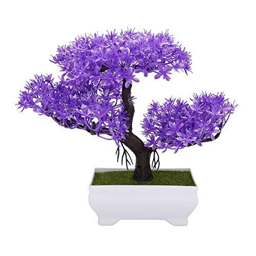 Duokon 16cm Flores Artificiales con Maceta Bonsai Jarrón de plástico de Seda de la Planta para la Boda Decoración del hogar del jardín de Vacaciones (Cedro púrpura)