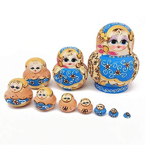 LOLOVI BBR - 10 peças de bonecas de madeira Rússia para presente com linda flor Matrioska Criativa Infantil Presentes de Aniversário Tradicionais Brinquedos de Descompressão para Adultos