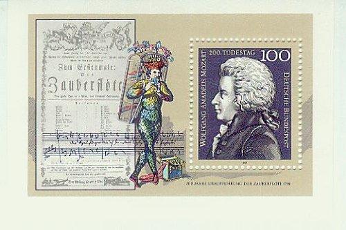 Mozart Wolfgang Amadeus - 200.Todestag - 200 Jahre Uraufführung der Zauberflöte 1791 - BRD/Bund - Komponist Noten Zauberflöte (Briefmarken für Sammler) postfrisch 100 Pf./Pfennige [Briefmarken, MiNr Bl 26]