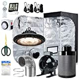 BloomGrow 300W Full Spectrum UFO LED Light + 24''x24''x48'' Grow Tent + 4'' Inline Fan Filter Duct Combo + Hangers + Hygrometer + Shears + 24-hour Timer + Trellis Netting Indoor Grow Tent Complete Kit
