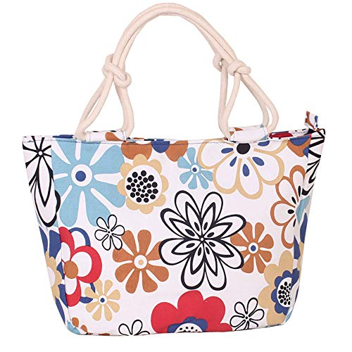 Bolsa de lona para mujeres y niñas, bolsa de hombro grande con bolsillo interior