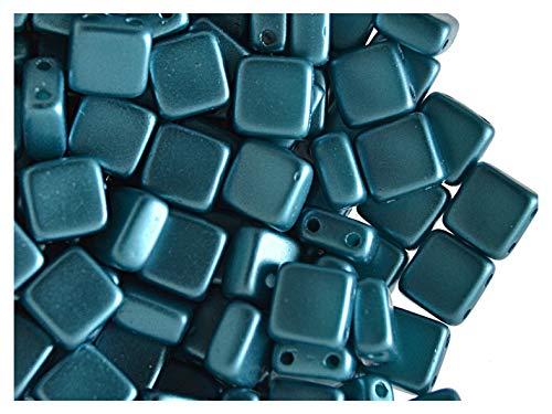 40pcs Tile Beads - Perles de verre pressées tchèques Carrelage 6x6x2.9mm, deux trous, Pastel Emerald