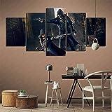 GBxebenYN02 5 piezas de 5 piezas pinturas de arte lienzo Assassin's Creed: Syndicate Accord Frye y Evie Frye Cafe Restaurant 150x80cm pintura sin marco