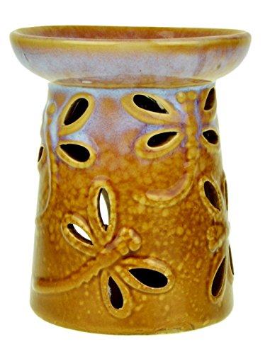 Piquaboo Brûle-parfum motif libellules - Céramique - Multicolore - 11 cm lilas