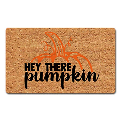 "FXGZHAO Welcome Mat with Rubber Back 18""(W) x 30""(L) Hey There Pumpkin Funny Doormat for Entrance Way Decorative Mats for Front Door Mat No Slip Kitchen Rugs and Mats"