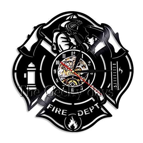 HHYXIN Vinyl-Wanduhr Feuerwehrmann Silhouette Schatten Wanduhr Feuerwehrmann Feuerwehr Vinyl Rekord Uhr Feuerwehrmann Geschenke Feuerwehr Kunst Wand Dekorativ