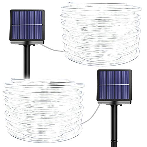 Solar Rope Lights Outdoor Waterproof - 2 Pack 100 LED 39.37FT 8 Modes Solar Rope String Lights Waterproof Tube Tree Light Copper Wire Fairy Lights for Christmas Garden Fence Yard Decor (Cool White)