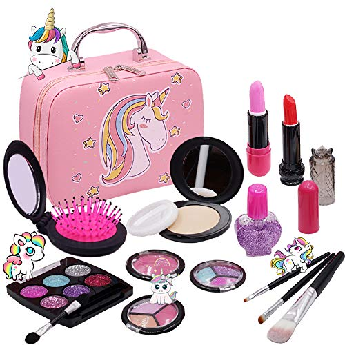Washable Makeup Girls Unicorn Toys - Real Make Up Set Washable Make up Kit for Toddler Kids Girl Children Princess Pretend Play Christmas Birthday Gift Toys for Girl Aged 3 4 5 6