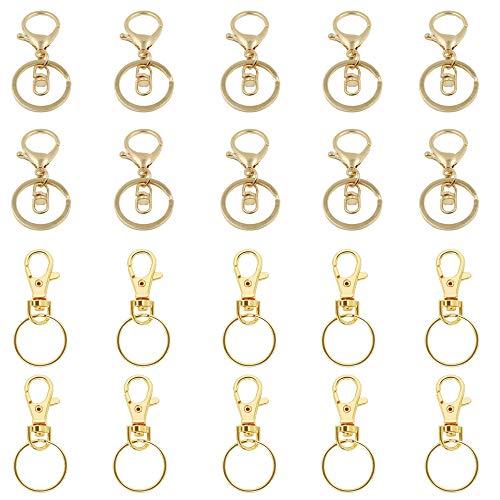 Sweieoni Schlüsselring Gold Karabiner Gold 30 Stücke Schlüsselanhänger Karabiner Karabinerhaken mit Drehgelenk Schlüsselanhänger für Taschenzubehör DIY Handgemachtes Schmuckzubehör