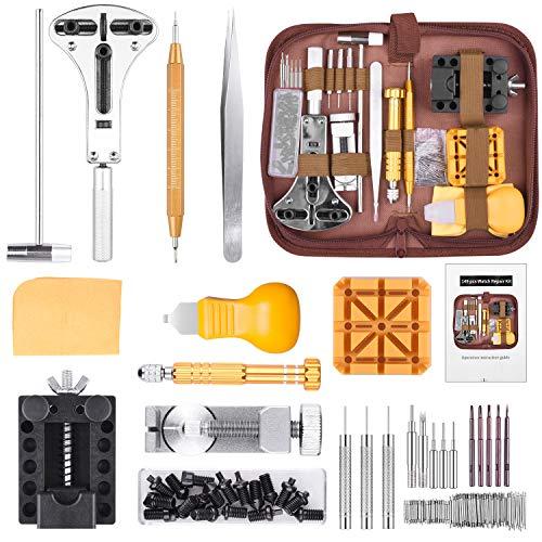 STARTOGOO 149 Pezzi Tool Kit di Riparazione orologi Professionale Strumenti Portable Set Orologiaio Attrezzi di Apertura Orologi e kit di Con Bustina TF58